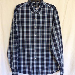 J. CREW Size Large Blue Plaid Long Sleeve Shirt